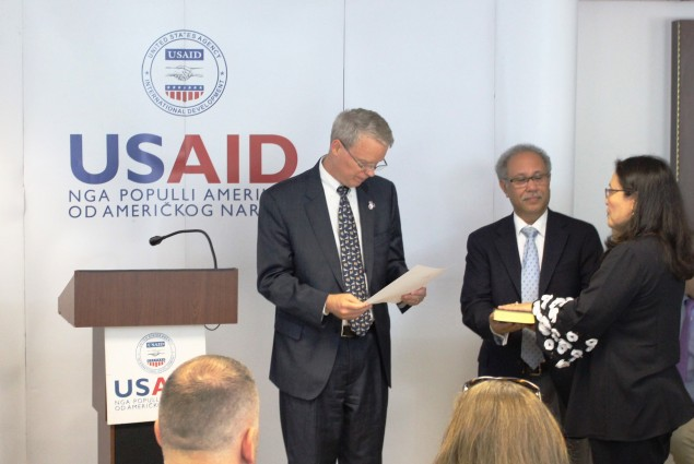 US Ambassador to Kosovo at the USAIDKosovo Mission Director Swearing in