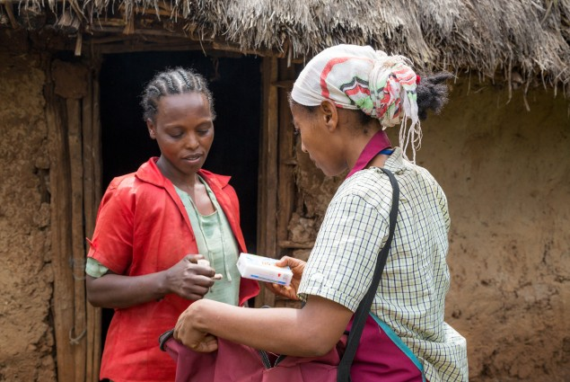 Launching an entrepreneur. Three years ago, USAID beneficiary Tsehaynesh Dukamo was selected from among the female members of her village economic and social association to  own and operate a micro-franchise business selling a range of consumer goods (soap, hair oil and other cosmetics, salt, shiro flour, and others) door-to-door. She currently sells to more than 200 households in her own and neighboring communities.