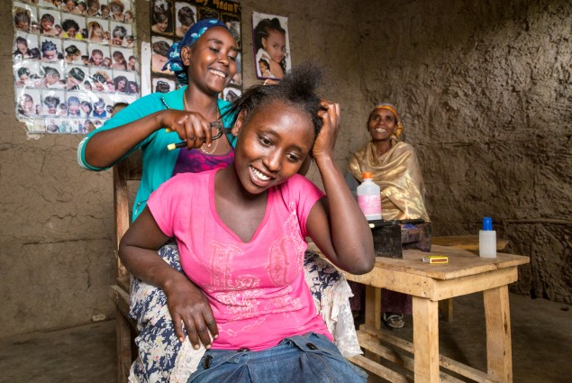 Creating a bright future. Of the 27 million people in Ethiopia living in chronic poverty and food insecurity, the majority are women. USAID has provided many rural women, including Danchile Kayamo (shown here in the hair shop she built for her daughter Melesu Negussie (in blue)), with the tools and skills they need to support themselves and their families.