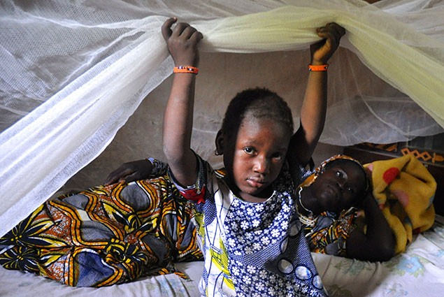 A young girl sits under a bednet with her mother behind her.