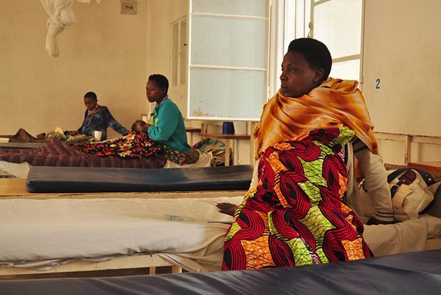 An expectant mother in a hospital in Rwanda