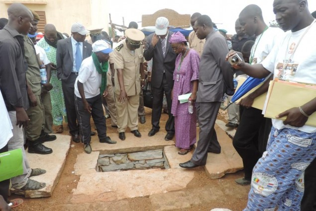 Mopti Governor and USAID Director visit a latrine under construction