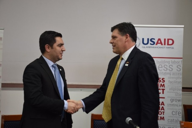 USAID's E&E Assistant Administrator Brock Bierman with the Minister of Economy of the Republic of Macedonia