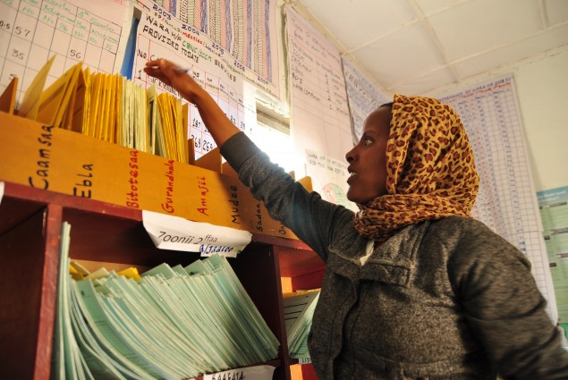 Natsaannat, a health extension worker in Wara Village, Ethiopia, demonstrates the community record management system, which tracks pregnancies and other health issues.