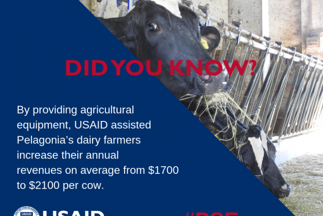 Did you know that by providing agricultural equipment, USAID assisted Pelagonia's dairy farmers increase their annual revenues on average from $1700 to $2100 per cow?