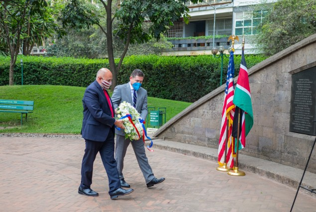 While visiting the August 7 Memorial Garden, USAID Acting Administrator Barsa and U.S. Ambassador McCarter pay their respects to the lives lost.