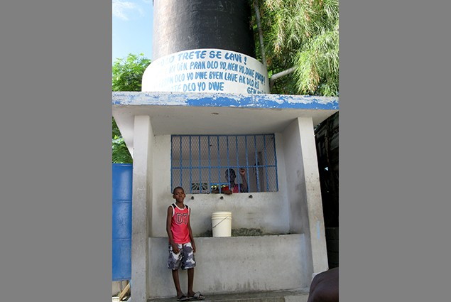 USAID (OFDA) also helped provide 5 water kiosks to Ravine Pintade. Children no longer need   to cross dangerously busy streets t