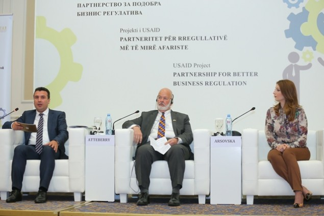 USAID/Macedonia Country Representative David Atteberry and the Prime Minister of Macedonia speaking at the forum