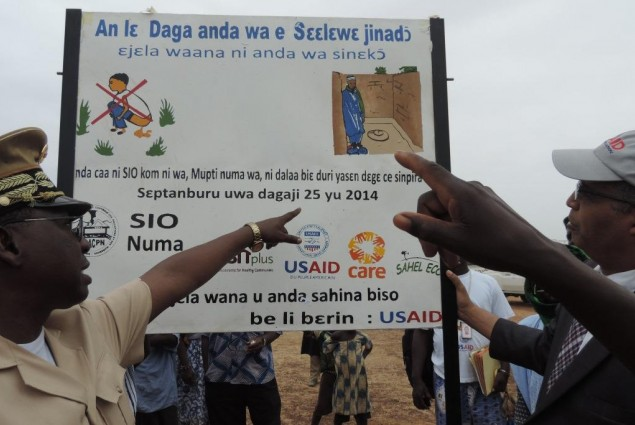 There is the toilet!! Mopti Governor and USAID Director pointing to it