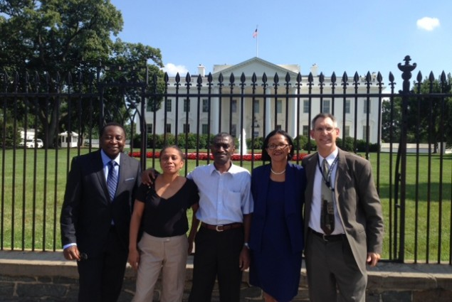 Malagasy health delegation in front of the White House