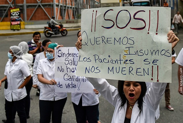 Health workers and patients protest for the lack of medicines, medical supplies and poor conditions in hospitals, in Caracas, Venezuela.