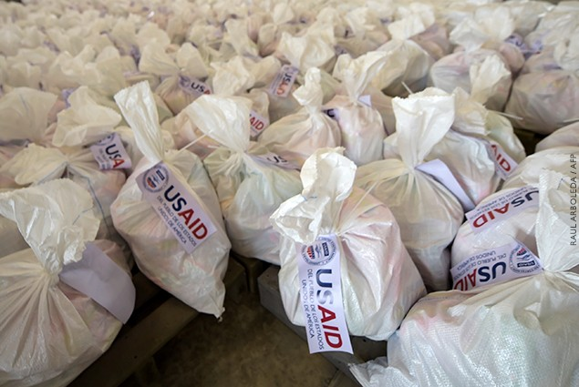 View of bags with US humanitarian aid goods in Cucuta, Colombia, on the border with Tachira, Venezuela