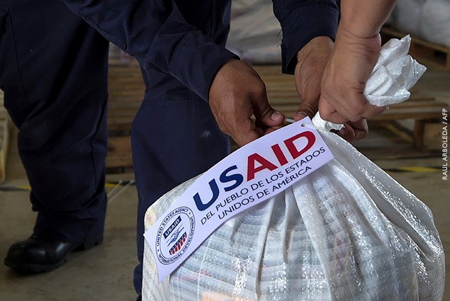 View of a bag with US humanitarian aid goods in Cucuta, Colombia, on the border with Tachira, Venezuela