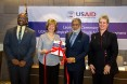 USAID Deputy Administrator Bonnie Glick (second from left) and Executive Chairman of Bangladesh Investment Development Authority (BIDA) Sirazul Islam launch USAID's Comprehensive Private Sector Assessment with USAID/Bangladesh Mission Director Derrick S. Brown and U.S. Embassy Deputy Chief of Mission JoAnne Wagner.