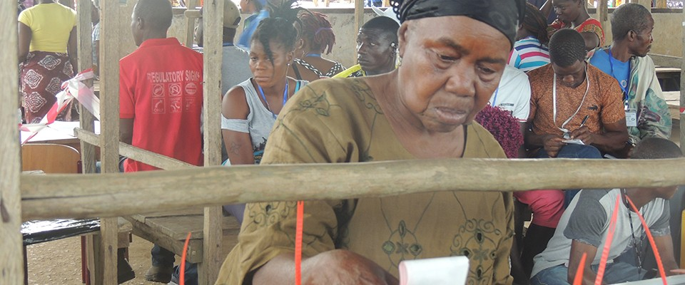 A close up of a female voter in Zorzor, Lofa County