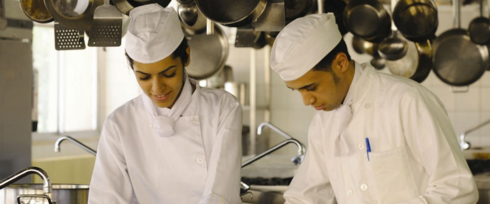 Vocational Training Center students in Jordan earn skills for the hospitality sector.