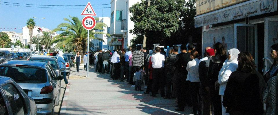 Line of Tunisian voters waiting their turn to vote in the country's October 2011 elections.
