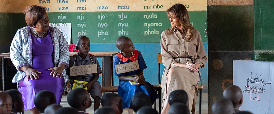 First Lady Melania Trump, alongside Maureen Masi, Head Teacher of Chipala Primary School, observes children learning the English and Chichewa languages at the Chipala Primary School in Lilongwe, Malawi. (Official White House Photo by Andrea Hanks)