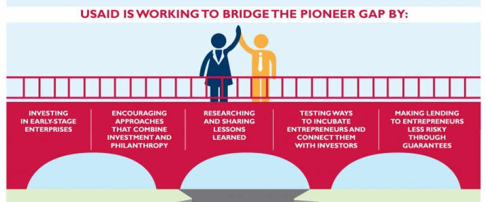 USAID is working to bridge the pioneer gap by: investing in early stage enterprises, encouraging approaches that combine investment and philanthropy, researching and sharing lessons learned, testing ways to incubate entrepreneurs and connect them with investors, making lending to entrepreneurs less risky through guarantees.