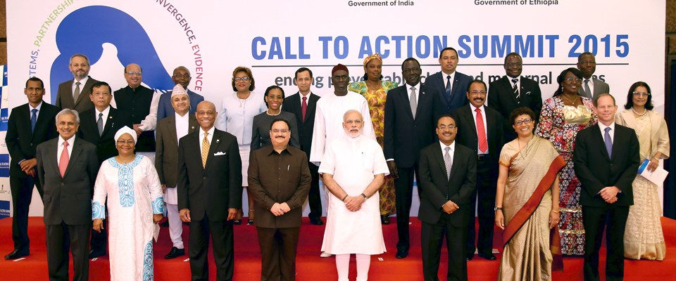 The Honourable Prime Minister of India, Shri Narendra Modi, joins Heads of Delegations from around the world at the inaugural se