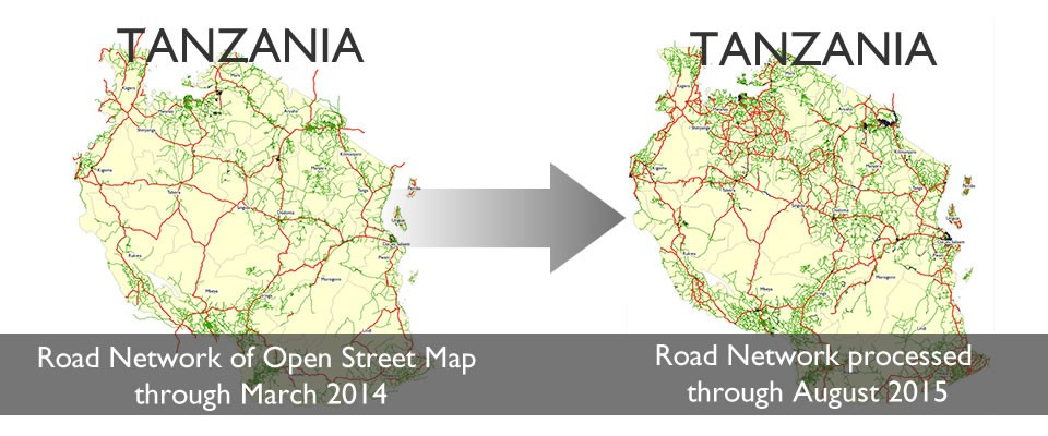 Graphic showing the increase in road mapping in Tanzania thanks to digital health programs.