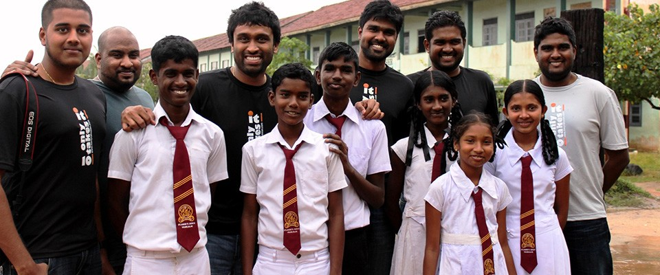 Diaspora volunteers with Educate Lanka Foundation with students in Sri Lanka.