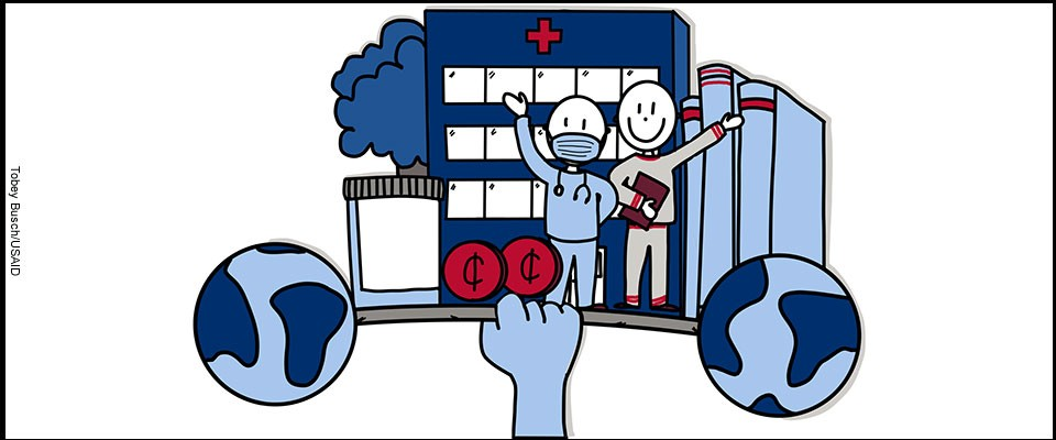 Graphic of a hand holding up a barbell with icons of health systems such as infrastructure and medical personnel