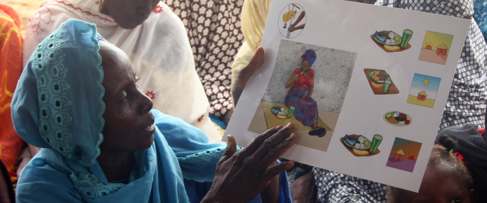 A Nigerien woman gives a training on nutrition to her women's group