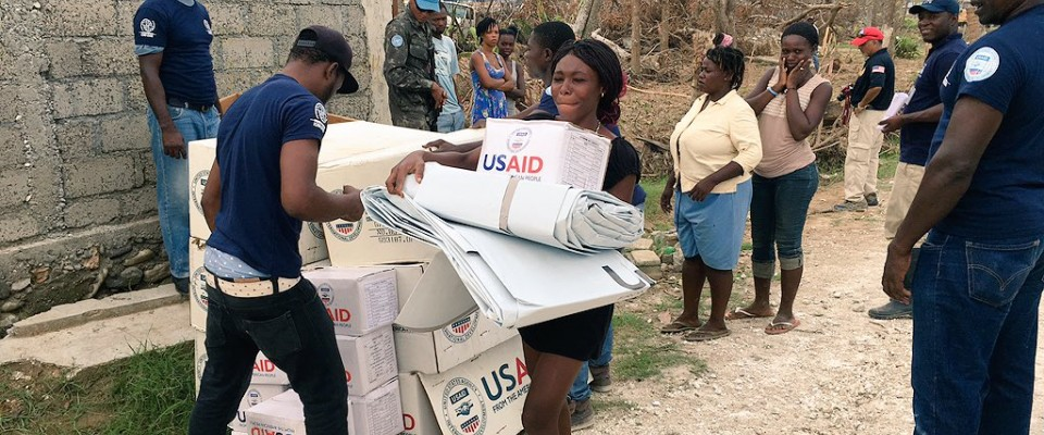 Haitians receive supplies from USAID