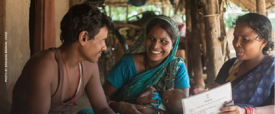India/ Uttampur, Odisha: Pratap Patra and his wife Jyoti Rani Patri listen carefully as their Community Health Worker talks about the advantages and expected side effects of the POP- a modern contraceptive method and all the other methods of family planning available in the FP basket.
