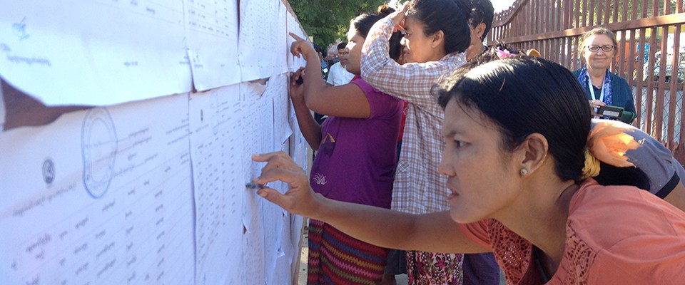 Burma - People Checking Voters' Lists