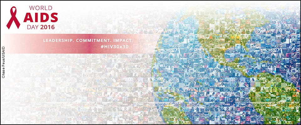 Mosaic of the globe made up of lots of little photos. World AIDS Day 2016. Leadership. Commitment. Impact. #HIV30x30