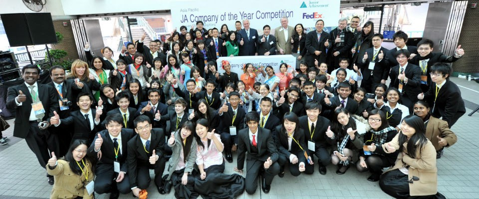 Large group of youth participants in the 2011 Junior Achievement Asia Pacific Company of the Year Competition.