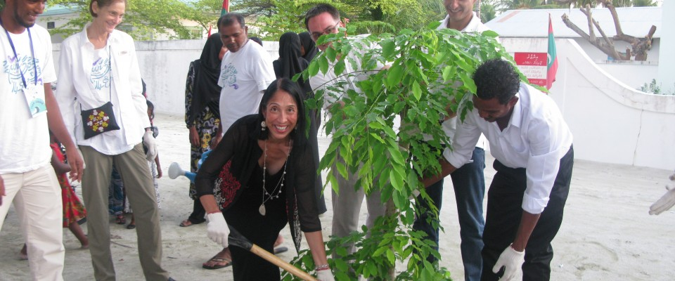 US Ambassador Michele J. Sison at a tree planting event in Mathiveri, North Ari Atoll