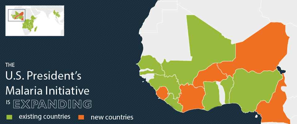 The U.S. President's Malaria Initiative is expanding  Shows map of Africa.