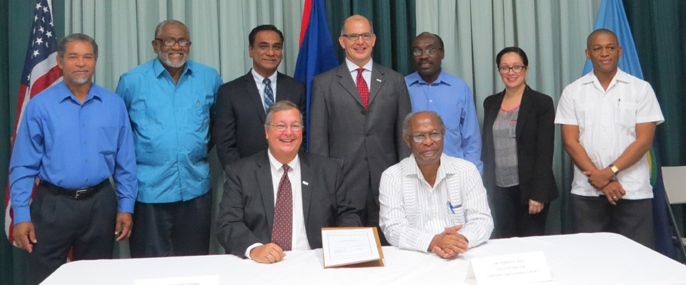 Officials take a photo minutes after the official signing to launch the Climate Change Adaptation Program (CCAP).