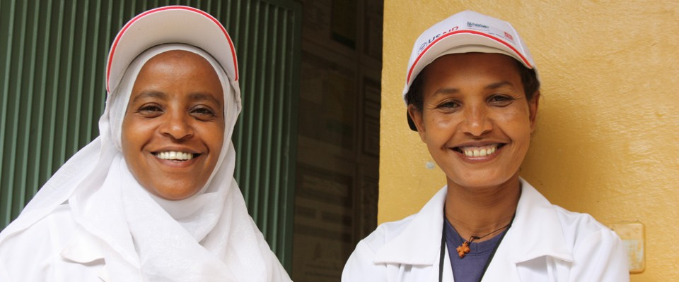 Two female health officers at a health center in SNNP Region. In addition to providing technical assistance and support to Ethio