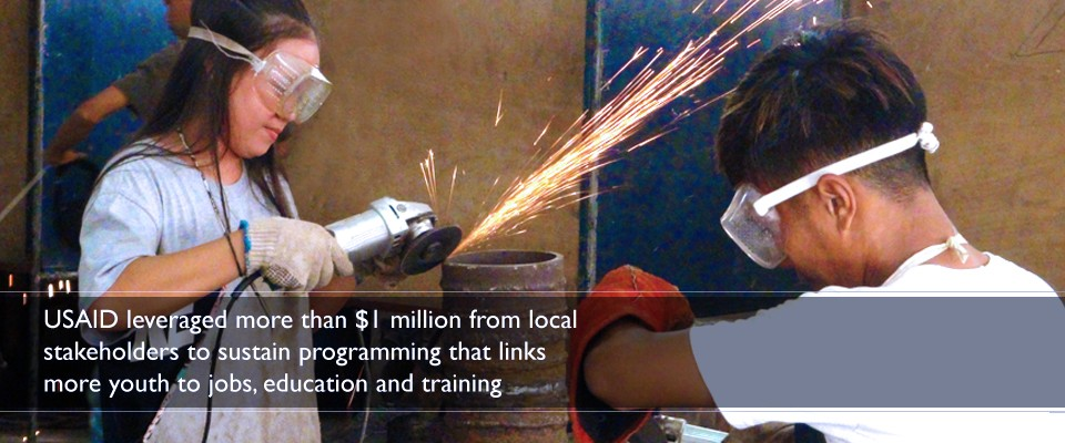USAID leveraged more than $1 million from local stakeholders to sustain programming that links more youth to jobs, education and training.