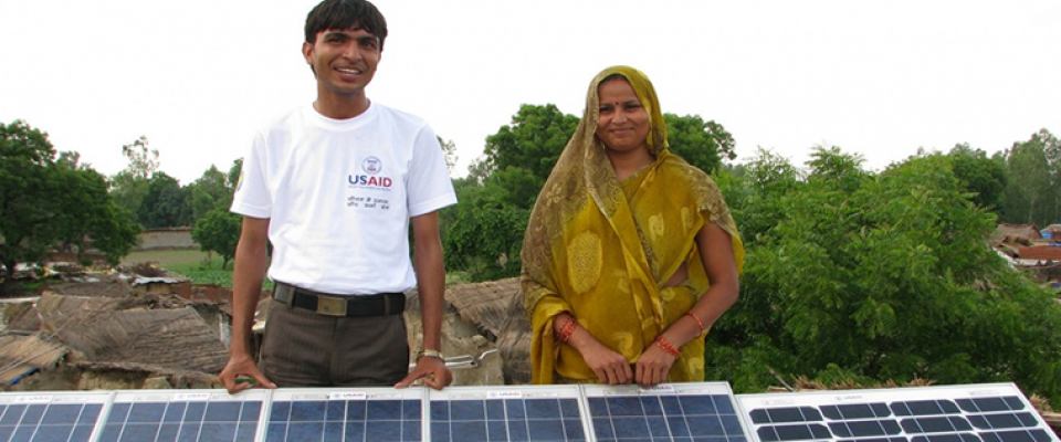 A USAID-supported project providing solar energy illumination to households in Indian villages, results in improved life quality