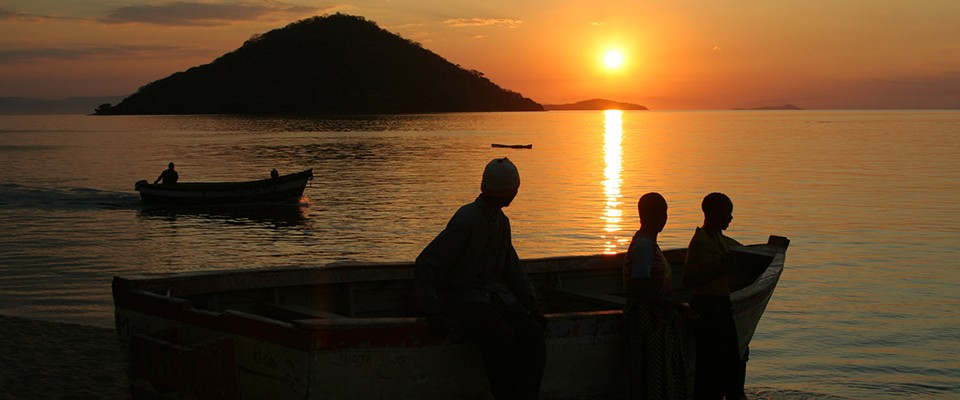 Fishermen out for fishing early in the morning on Lake Malawi