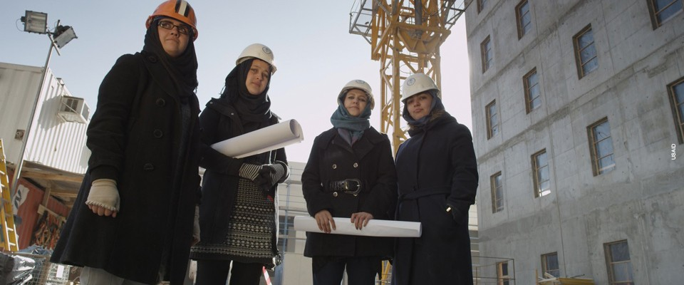 Women working as construction engineers