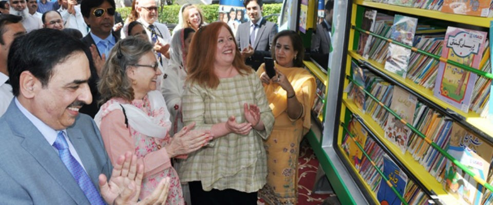 USAID Deputy Mission Director Cathy Moore celebrated the launch of four new mobile libraries provided through the Pakistan Readi