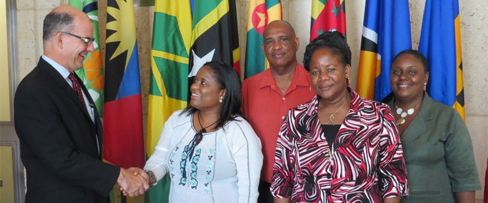 Magistrate Agustus (left) and other Juvenile Justice officials from Dominica.