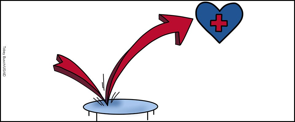 Graphic of a heart representing health bouncing off a trampoline
