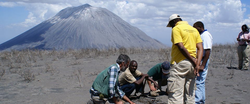 VDAP worked with the Geological Survey of Tanzania to assess ashfall from the Ol Doinyo Lengai volcano. Photo: Gari Mayberry/USA