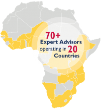 Map showing Power Africa experts in Africa