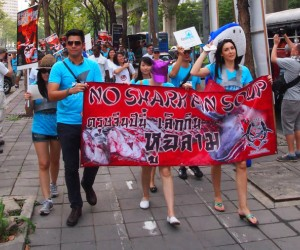 Fin Free Thailand supporters take to the streets to lessen the taste for shark fin soup.
