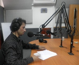 23 year-old Fahim Sediqui, presenter of Internews Generation Hope youth program, speaks to youth callers live-to-air from across