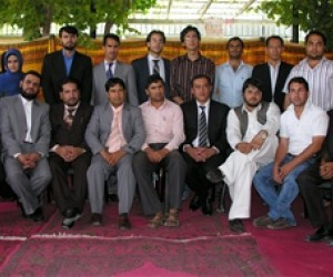 Graduates of the USAID Media Law Program pose for a group picture.