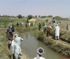 Laborers clear the Khalach Canal, improving farming capacity in Hilmand's Nawa District.